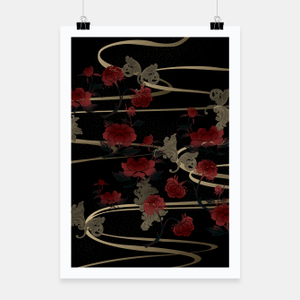 Miniatur Japanesque peony and Baroque decoration Poster, Live Heroes