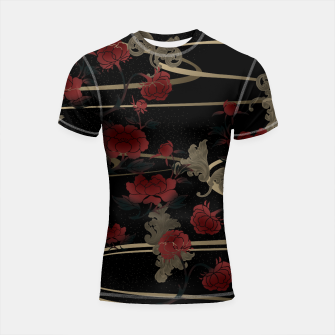 Thumbnail image of Japanesque peony and Baroque decoration Shortsleeve Rashguard, Live Heroes