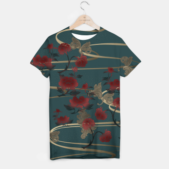 Miniatur Japanesque peony and Baroque decoration T-shirt, Live Heroes