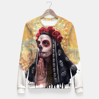 Thumbnail image of La Catrina - Skull Girl Fitted Waist Sweater, Live Heroes