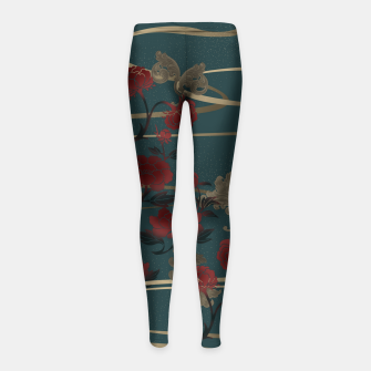 Miniatur Japanesque peony and Baroque decoration Girl's Leggings, Live Heroes