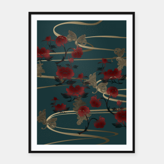Thumbnail image of Japanesque peony and Baroque decoration Framed poster, Live Heroes