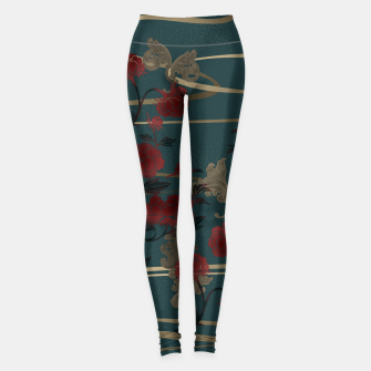 Miniaturka Japanesque peony and Baroque decoration Leggings, Live Heroes