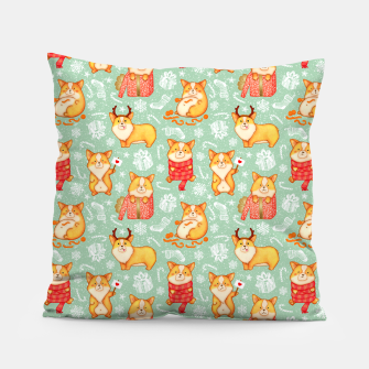 Merry dog ​​Corgi Pillow Bild der Miniatur