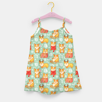 Merry dog ​​Corgi Girl's Dress Bild der Miniatur