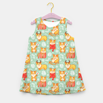 Merry dog ​​Corgi Girl's Summer Dress Bild der Miniatur