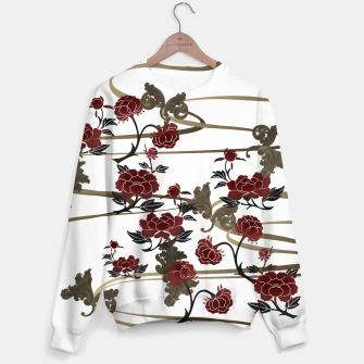 Japanesque peony and Baroque decoration Sweater obraz miniatury