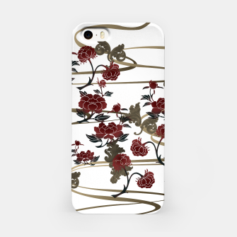 Japanesque peony and Baroque decoration iPhone Case obraz miniatury