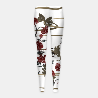 Japanesque peony and Baroque decoration Girl's Leggings obraz miniatury