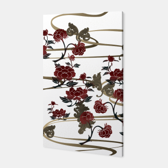 Miniatur Japanesque peony and Baroque decoration Canvas, Live Heroes