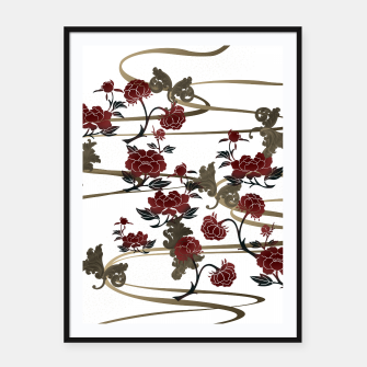 Miniatur Japanesque peony and Baroque decoration Framed poster, Live Heroes