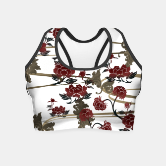 Japanesque peony and Baroque decoration Crop Top obraz miniatury