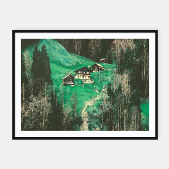 Thumbnail image of mountain huts Framed poster, Live Heroes