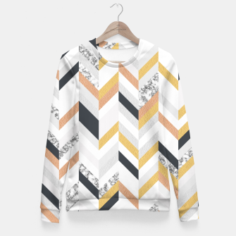 Marble and Gold Chevron Fitted Waist Sweater obraz miniatury