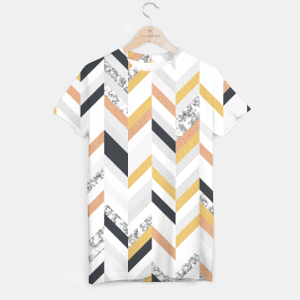 Marble and Gold Chevron T-shirt obraz miniatury