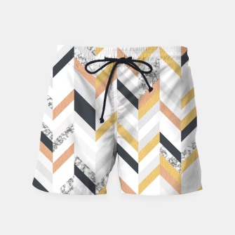 Thumbnail image of Marble and Gold Chevron Swim Shorts, Live Heroes