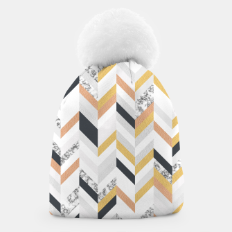 Thumbnail image of Marble and Gold Chevron Beanie, Live Heroes