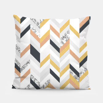 Thumbnail image of Marble and Gold Chevron Pillow, Live Heroes