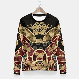 Thumbnail image of Baroque Japanesque design black Fitted Waist Sweater, Live Heroes