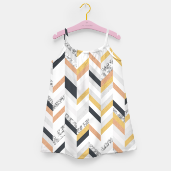 Marble and Gold Chevron Girl's Dress obraz miniatury