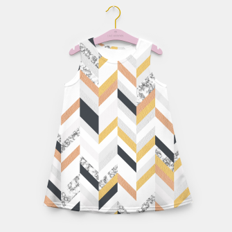 Marble and Gold Chevron Girl's Summer Dress obraz miniatury