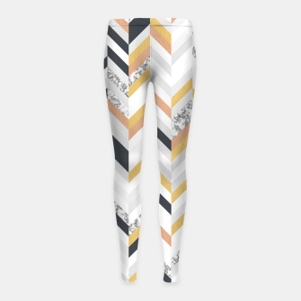 Thumbnail image of Marble and Gold Chevron Girl's Leggings, Live Heroes