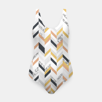 Marble and Gold Chevron Swimsuit obraz miniatury