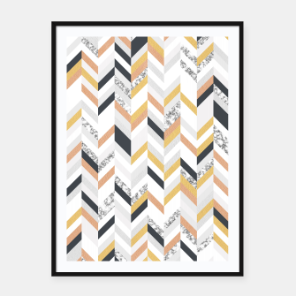 Marble and Gold Chevron Framed poster obraz miniatury