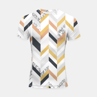 Thumbnail image of Marble and Gold Chevron Shortsleeve Rashguard, Live Heroes