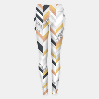 Miniaturka Marble and Gold Chevron Leggings, Live Heroes
