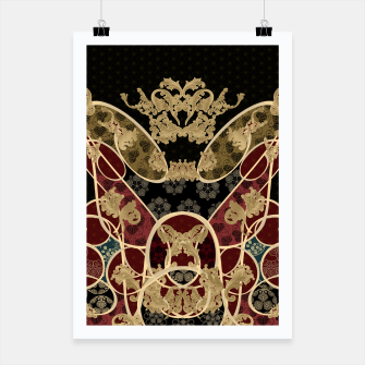 Thumbnail image of Baroque Japanesque design black Poster, Live Heroes