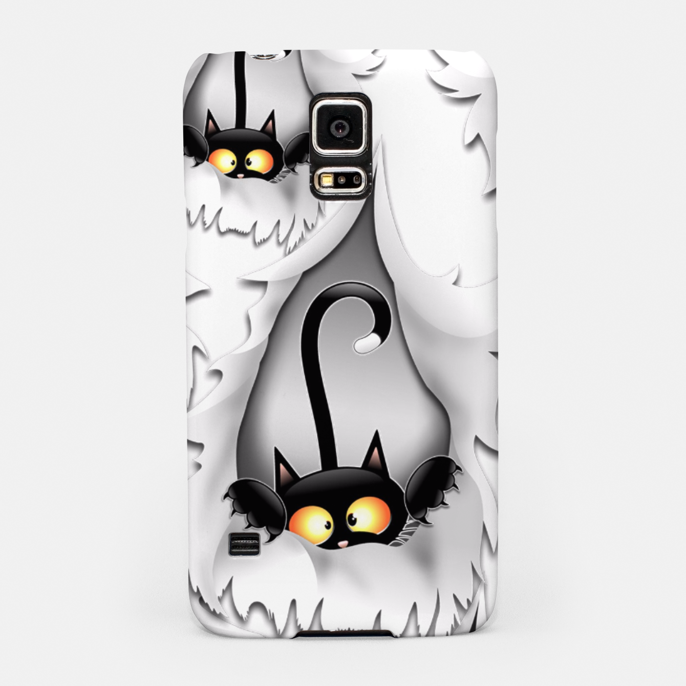 Image of Fun Cat Cartoon in ripped fabric Hole Samsung Case - Live Heroes