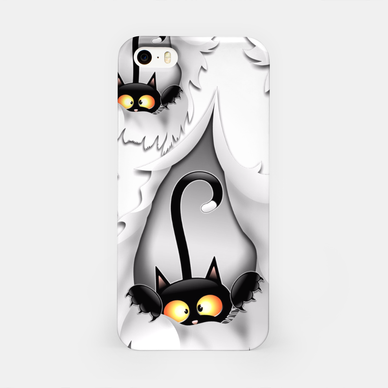 Image of Fun Cat Cartoon in ripped fabric Hole iPhone Case - Live Heroes