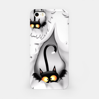 Thumbnail image of Fun Cat Cartoon in ripped fabric Hole iPhone Case, Live Heroes
