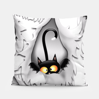 Thumbnail image of Fun Cat Cartoon in ripped fabric Hole Pillow, Live Heroes