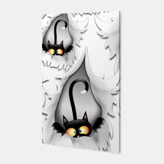 Fun Cat Cartoon in ripped fabric Hole Canvas thumbnail image
