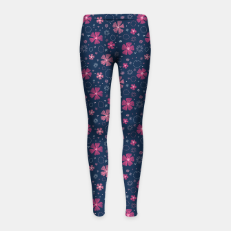 Thumbnail image of Carthusian Pink Embroidery Girl's Leggings, Live Heroes