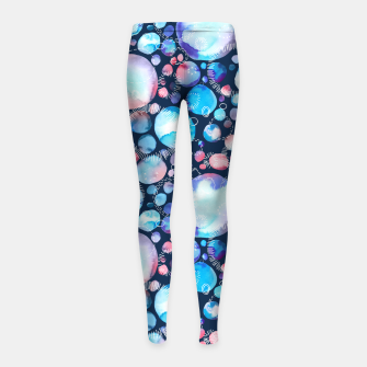 Thumbnail image of Pink and Blue Watercolor Universe Girl's Leggings, Live Heroes