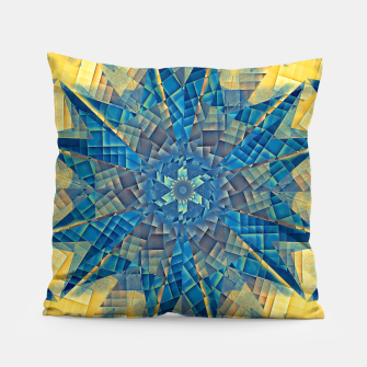 Thumbnail image of mandala -mosaic blue and yellow Poduszka, Live Heroes