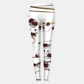 Thumbnail image of red peony Japanesque Leggings, Live Heroes