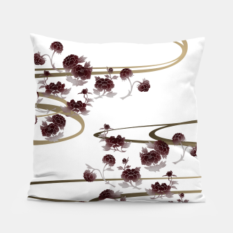 Thumbnail image of red peony Japanesque Pillow, Live Heroes