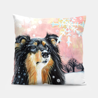 Thumbnail image of winter collie Pillow, Live Heroes