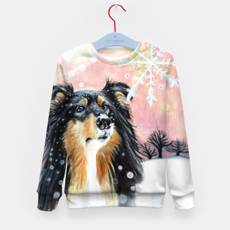 Thumbnail image of winter collie Kid's Sweater, Live Heroes