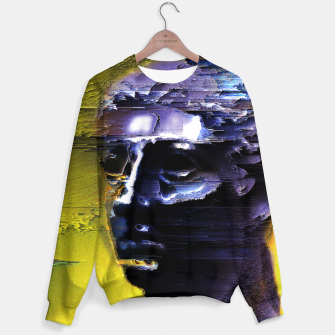 Thumbnail image of purple/yellow glitch Sweater, Live Heroes