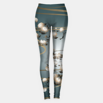 Thumbnail image of Japanesque Peony green Leggings, Live Heroes
