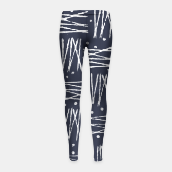 Miniatur Abstract Pattern - Navy and White Girl's Leggings, Live Heroes