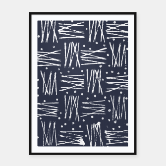 Miniatur Abstract Pattern - Navy and White Framed poster, Live Heroes