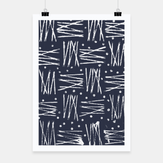 Miniatur Abstract Pattern - Navy and White Poster, Live Heroes