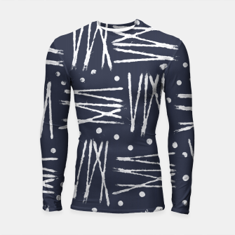 Miniatur Abstract Pattern - Navy and White Longsleeve Rashguard , Live Heroes