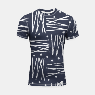 Miniatur Abstract Pattern - Navy and White Shortsleeve Rashguard, Live Heroes